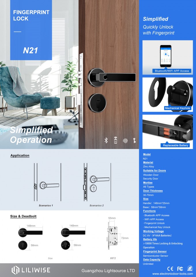 Biometric Fingerprint Door Lock / Bluetooth Zinc Alloy Door Handle Split Lock
