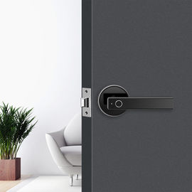 Smart Biometric Thumbprint Room Door Locks / Electronic Front Black Door Handle Lock