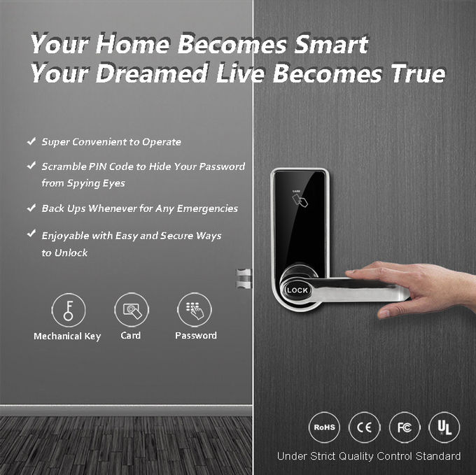 Morden Smart Touch Screen Keypad Front Door Lock For Apartment / Residential