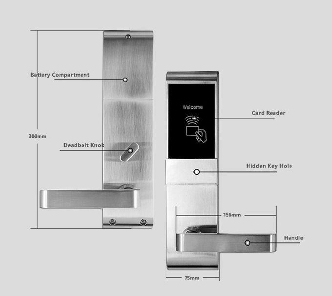 Wood Door Rfid Door Lock System , Smart Key Card Door Lock For Hotels