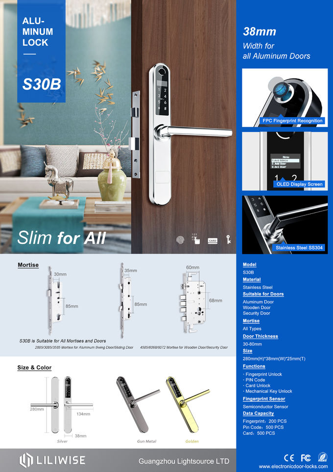 Digital 4 In 1 Smart Aluminum Sliding Door Lock With English , Chinese Language